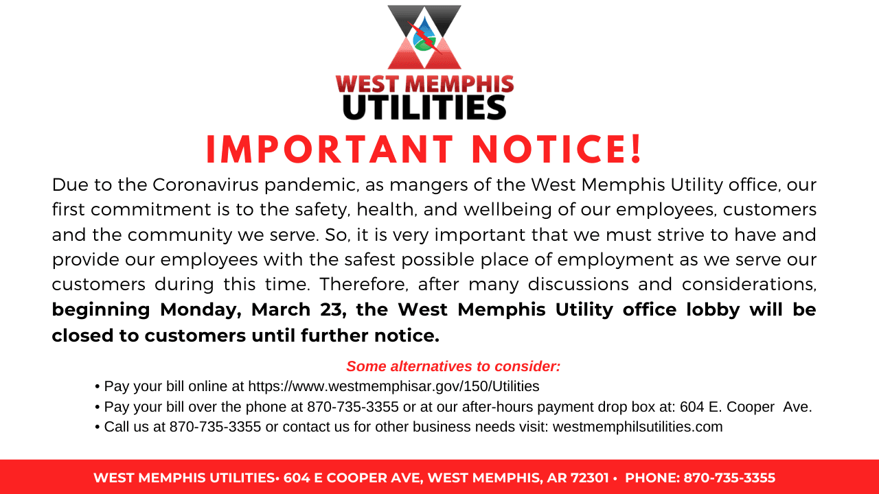 West Memphis Utilities important notice COVID-19