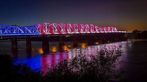 Lights illuminate the Big River Crossing