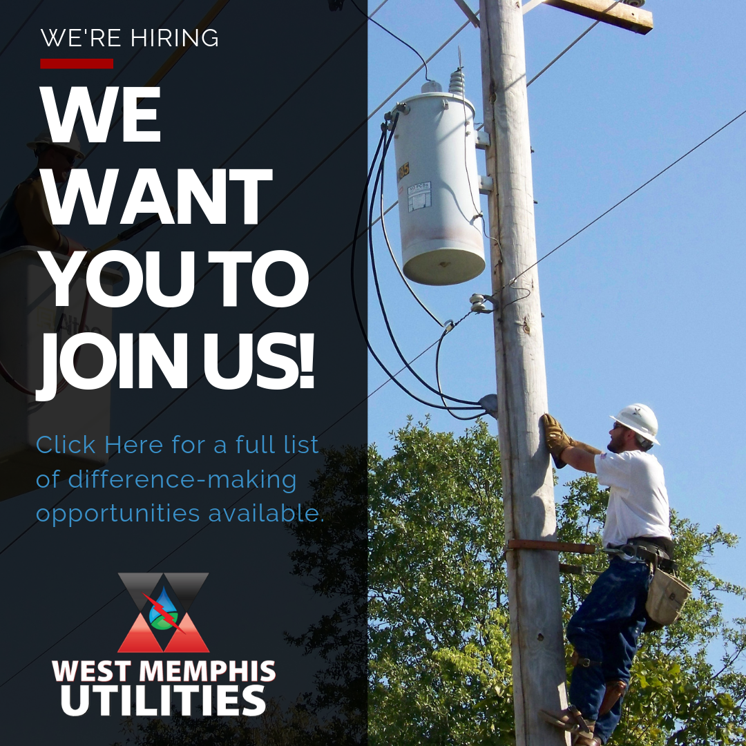 West Memphis Utility Lineman working on lines Now hiring